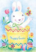 Easter Card-Bunny In A Flowerpot
